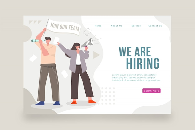 We are hiring home page with illustration Premium Vector