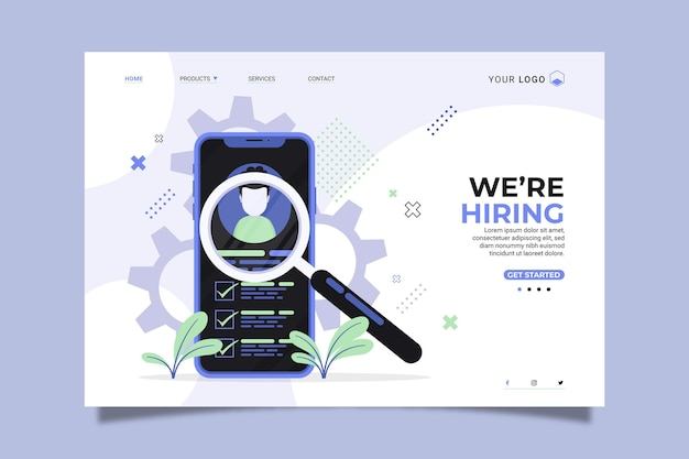 We are hiring home page with illustrations Premium Vector
