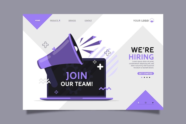 We are hiring home page Premium Vector
