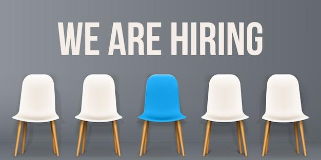 We are hiring, interview banner Premium Vector