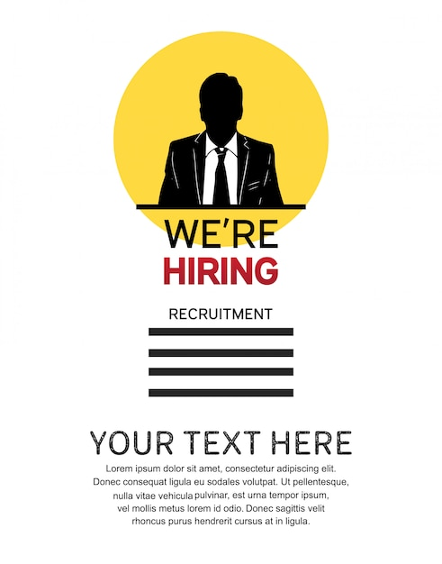 We are hiring job design poster with man icon hand drawn Premium Vector
