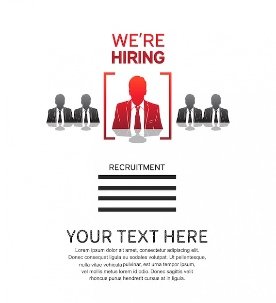 We are hiring job poster with man icon Premium Vector