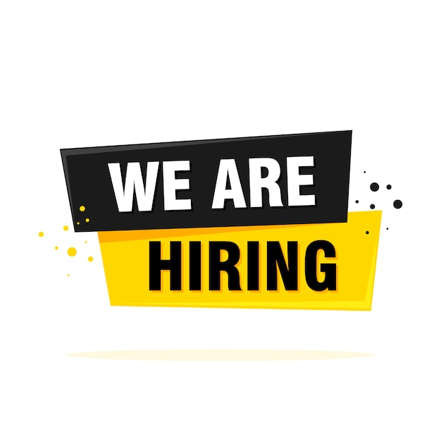 We are hiring label sign. black and yellow origami style sticker.  illustration. Premium Vector