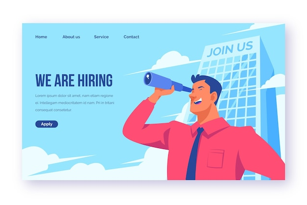 We are hiring landing page concept Premium Vector