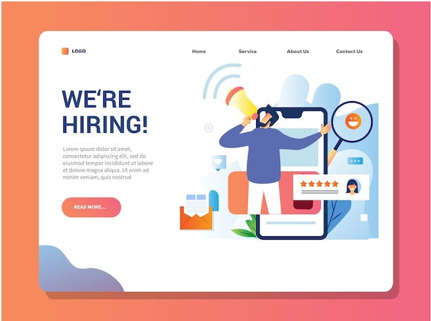 We are hiring landing page design for open recruitment an employee or staff Premium Vector