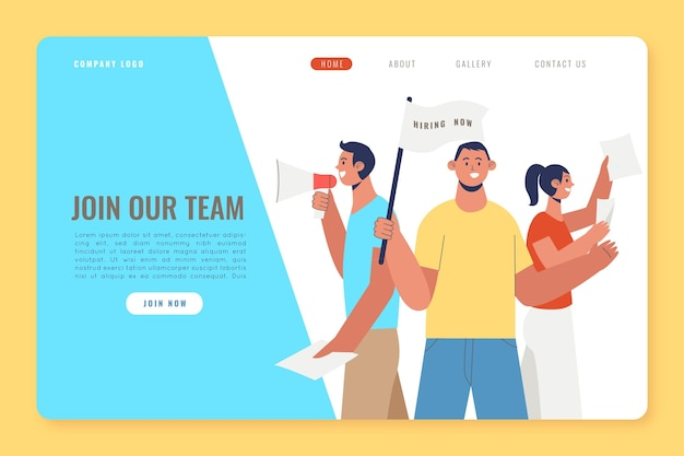 We are hiring landing page design Free Vector