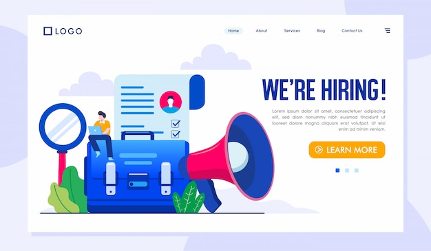 We are hiring landing page illustration vector template Premium Vector