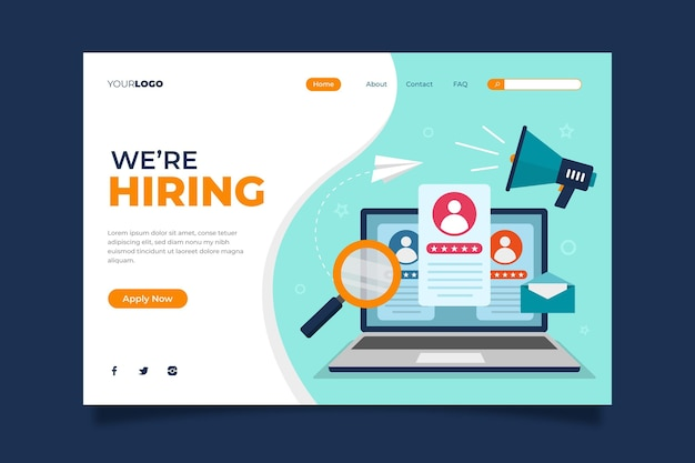 We are hiring landing page template Free Vector