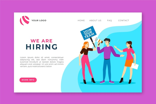 We are hiring landing page template Premium Vector