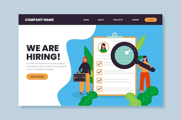 We are hiring landing page web template Free Vector