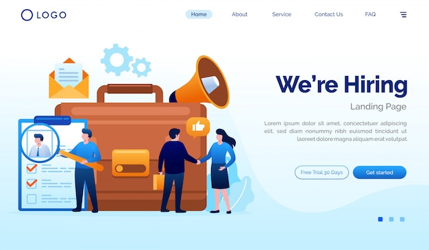 We are hiring landing page website illustration vector template Premium Vector