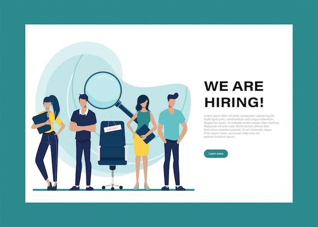We are hiring  landing page with people character. Premium Vector
