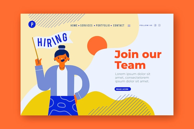 We are hiring landing page Free Vector