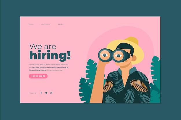 We are hiring - landing page Premium Vector