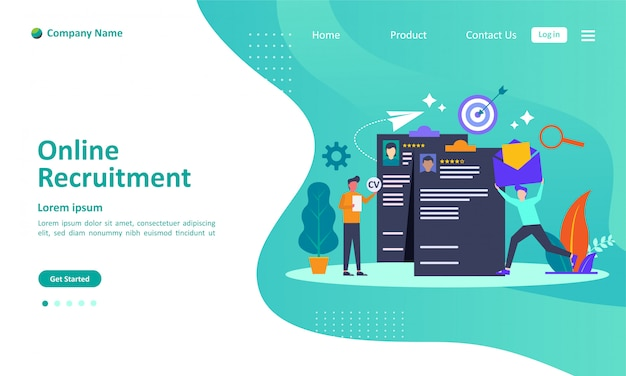 We are hiring or online recruitment landing page Premium Vector