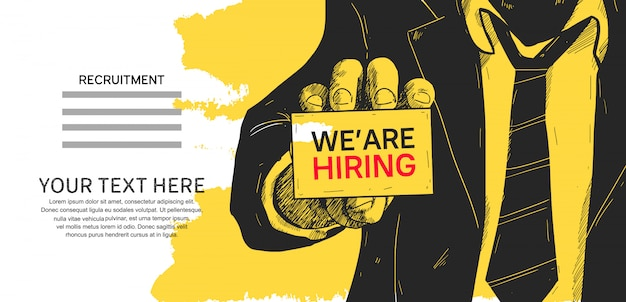 We are hiring poster concept design illustration Premium Vector
