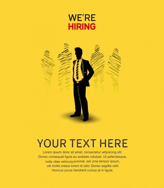 We are hiring poster yellow background Premium Vector