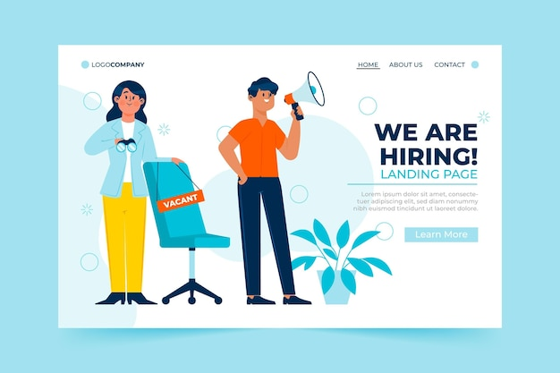 We are hiring promo landing page Free Vector