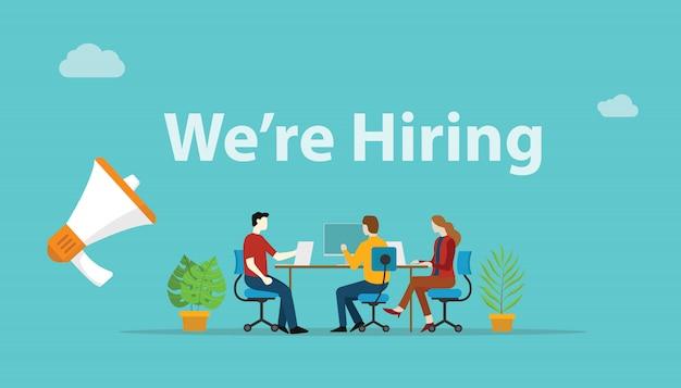 We are hiring recruitment concept Premium Vector