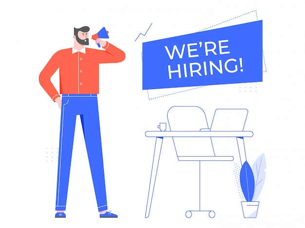 We are hiring. vacant workplace, team manager hiring new staff and hire employee in office. headhunter flat illustration. recruiting, hr specialist cartoon character with speaker banner Premium Vector