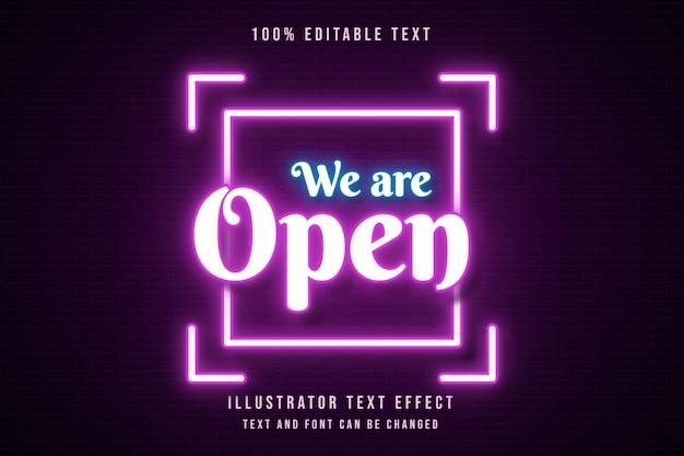 We are open,3d editable text effect pink gradation orange neon text style Premium Vector