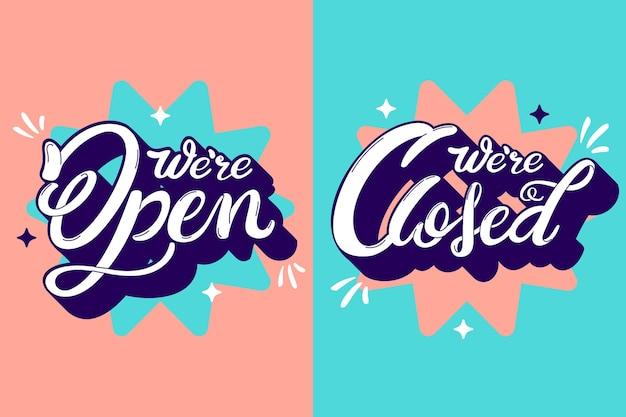 우리는 열려 있고 닫힌 글자입니다. 무료 벡터