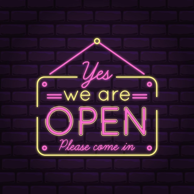 We are open come in pink neon lights Premium Vector