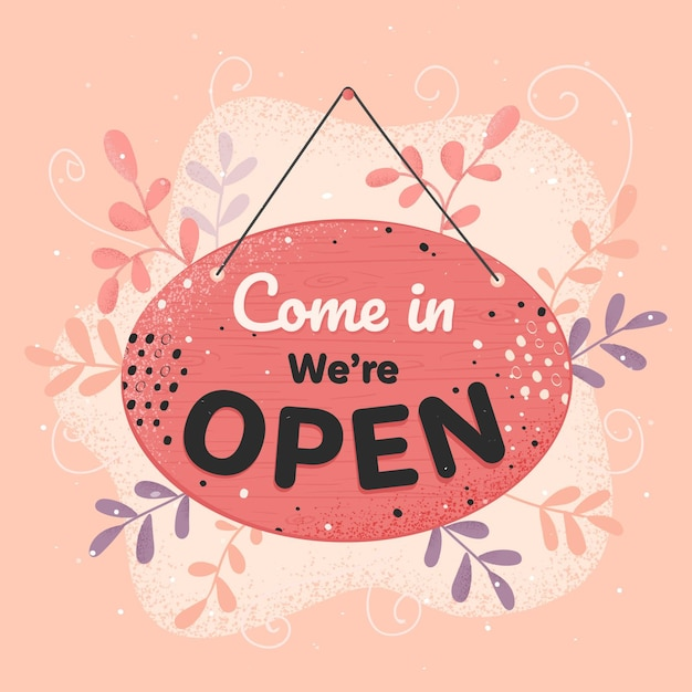 We are open creative sign Free Vector