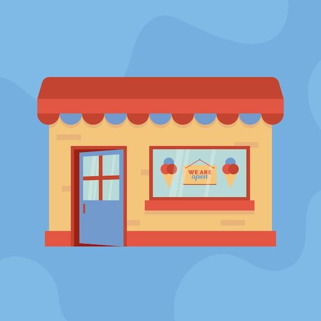オープンアイスクリームショップです 無料ベクター