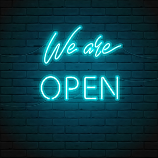 We are open lettering with bright glowing neon for  of sign on door of shop, cafe, bar or restaurant, club, night bright ad.  typographic illustration. glow night ad outdoor, indoor. Premium Vector