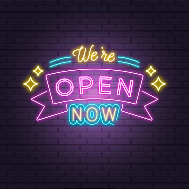 'we are open' neon sign on brick wall Free Vector