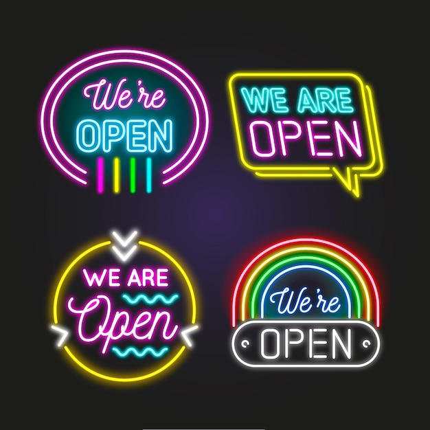 We are open neon sign collection Free Vector