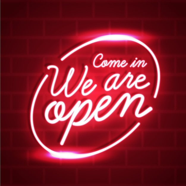 We are open neon sign design Free Vector