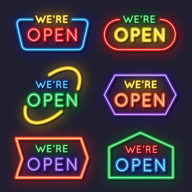We are open neon sign pack Free Vector