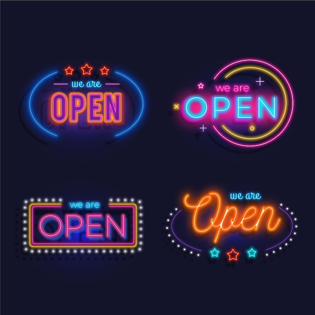 We are open neon sign set theme Free Vector