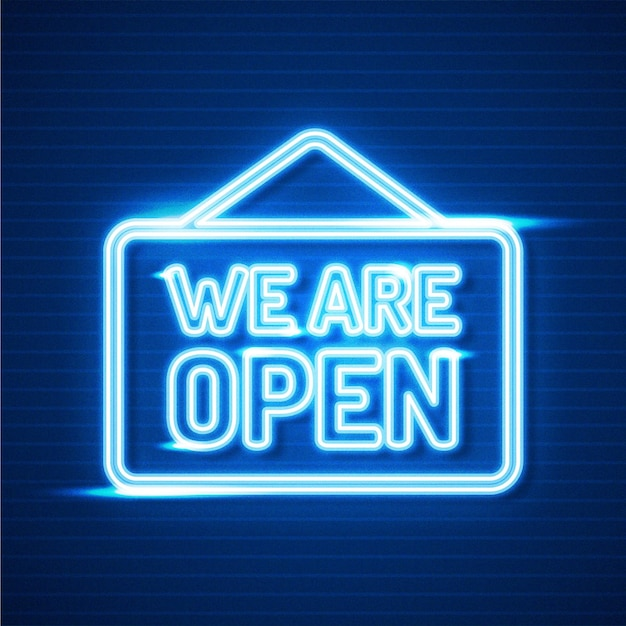 We are open neon sign theme Free Vector