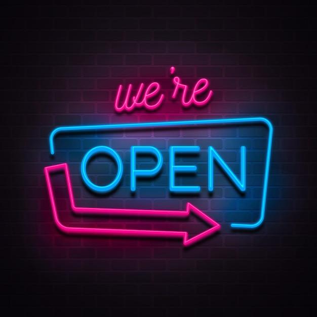 「私たちは開いています」ネオンサイン 無料ベクター