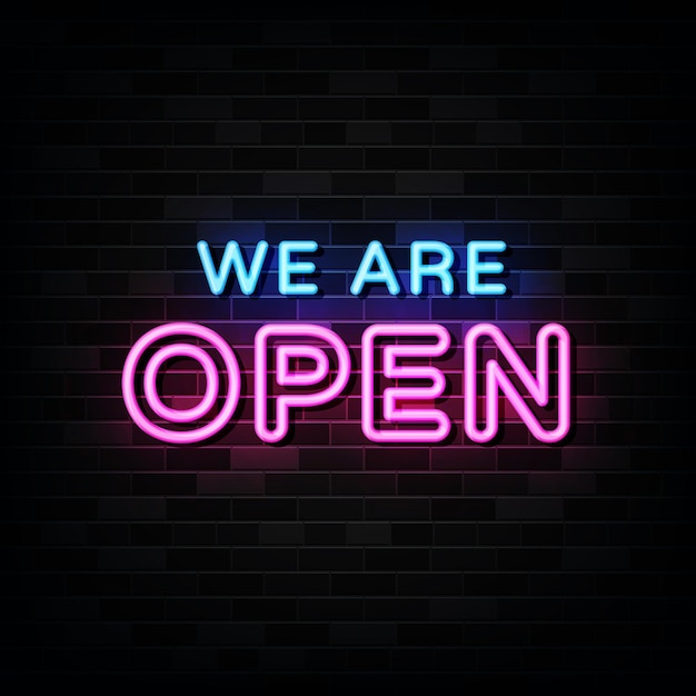 We are open neon signs on black wall Premium Vector