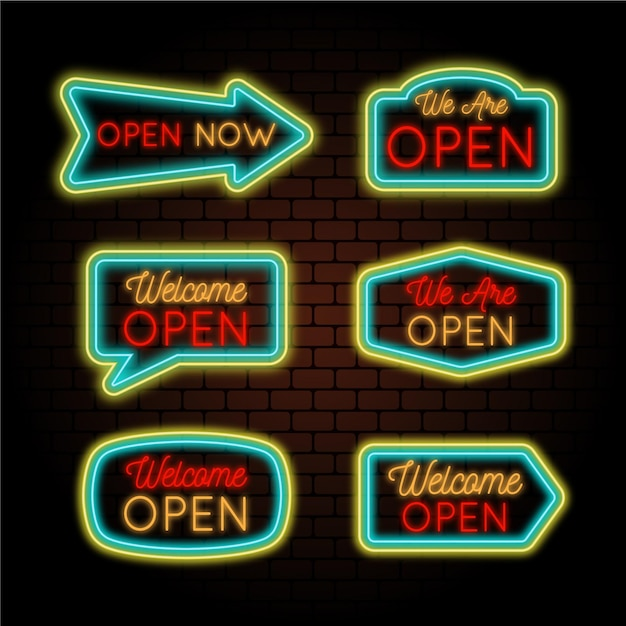 We are open neon signs Free Vector