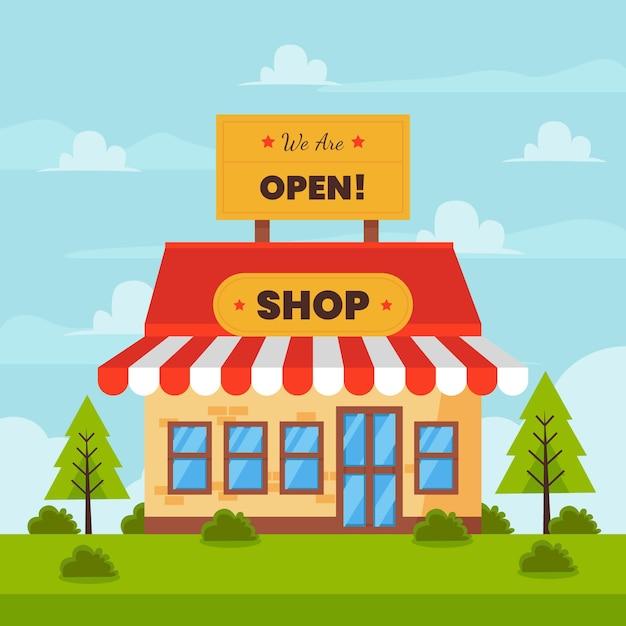 У нас открыт магазин и молодые сосны Бесплатные векторы
