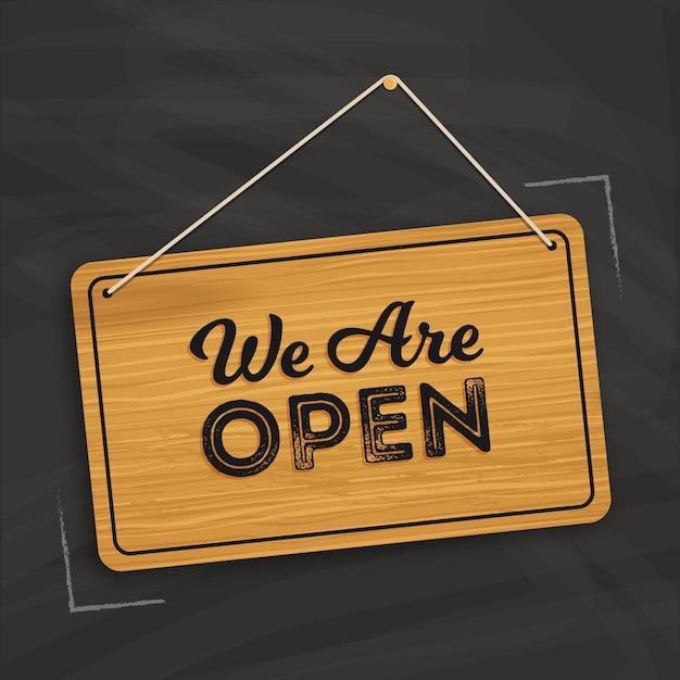 私たちはオープンサインのコンセプトです Premiumベクター