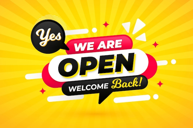 We are open sign concept Free Vector