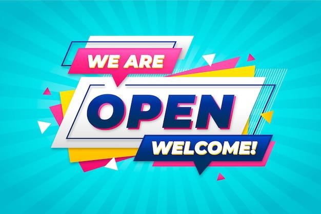 Siamo un concetto di segno aperto Vettore gratuito