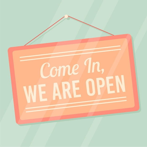 We are open sign Free Vector