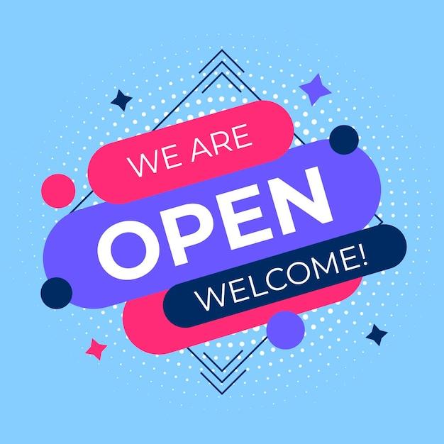 私たちはオープンサインです 無料ベクター