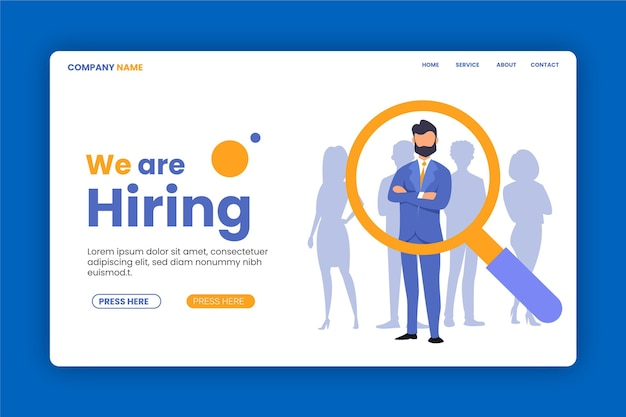 We are searching recruitment landing page Premium Vector