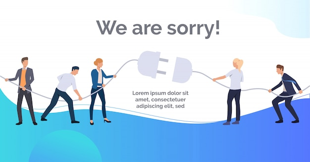 We are sorry blue slide presentation Free Vector