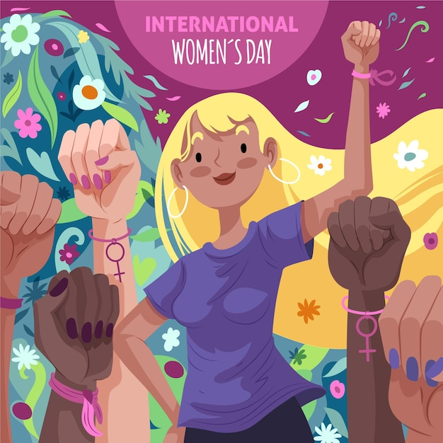 We can do it 8 march women's day Free Vector
