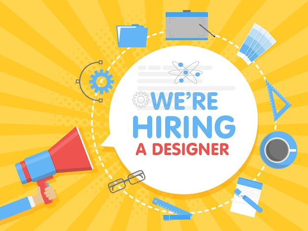 We hire a designer. megaphone concept vector illustration. banner template, ads, search for employees, hiring graphick artist for work Premium Vector
