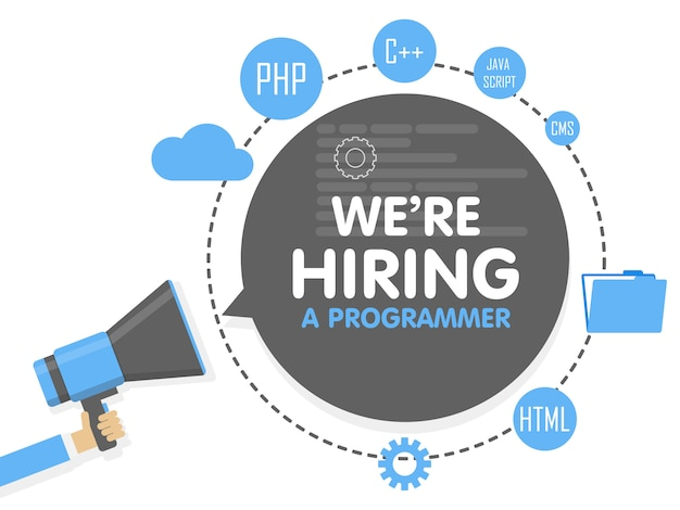 We hire a programmer. megaphone concept. banner template, ads, search for employees, hiring developer or coder for work Premium Vector
